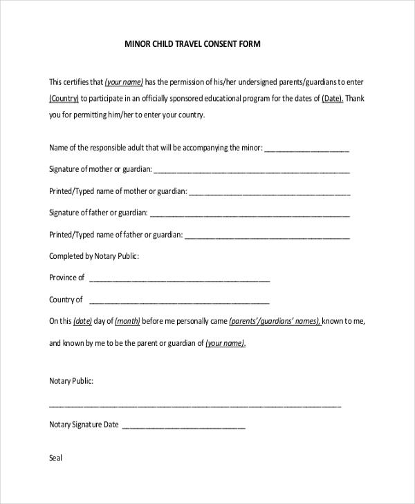 child travel consent form