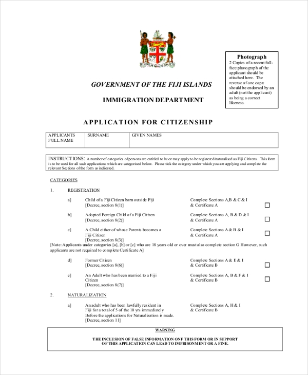 Sample application forms 20 free documents in word pdf for Documents for apply citizenship