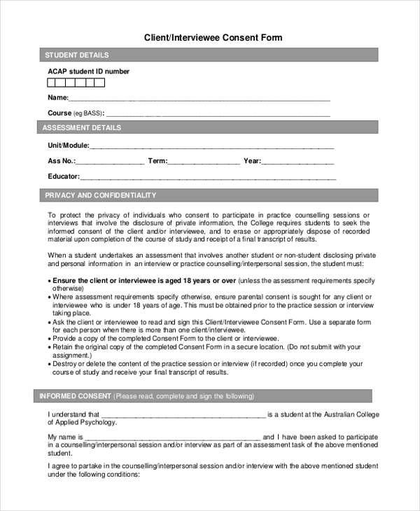 Interview Consent Form  WowcircleTk