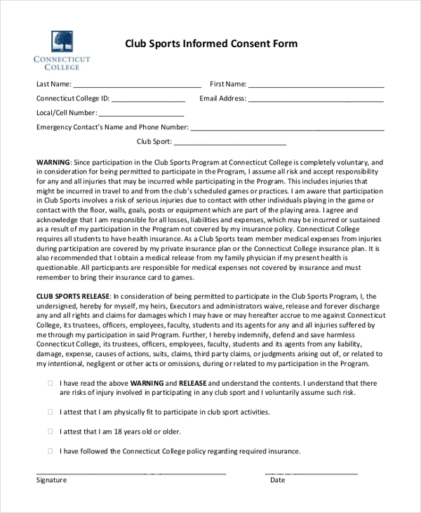 club sports informed consent form