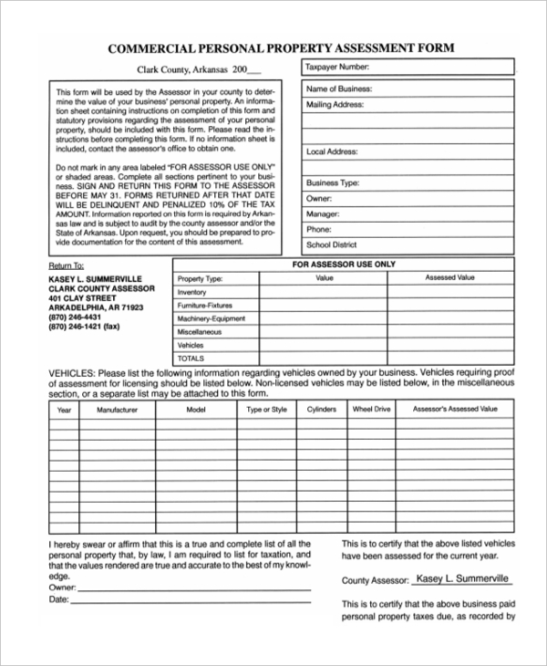 Sample Property Assessment Forms   Free Documents In Word Pdf