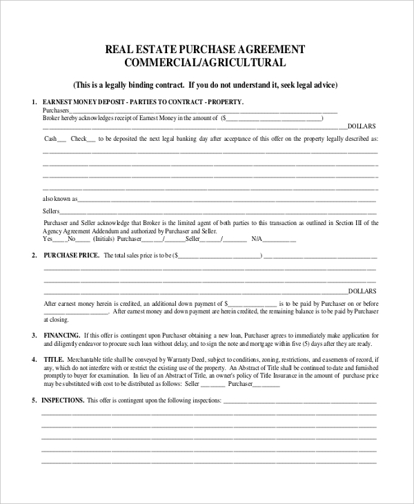 commercial real estate form