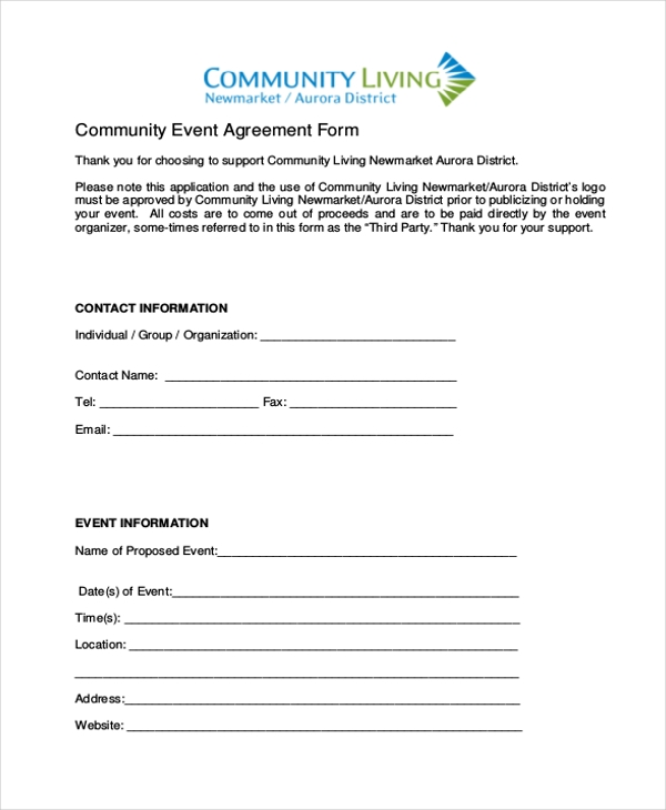 Sample Community Event Agreement Form