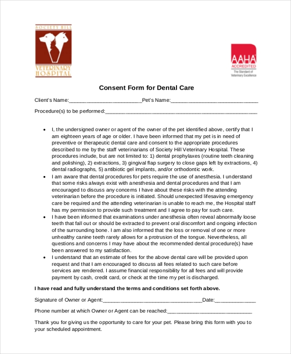 consent form for dental care
