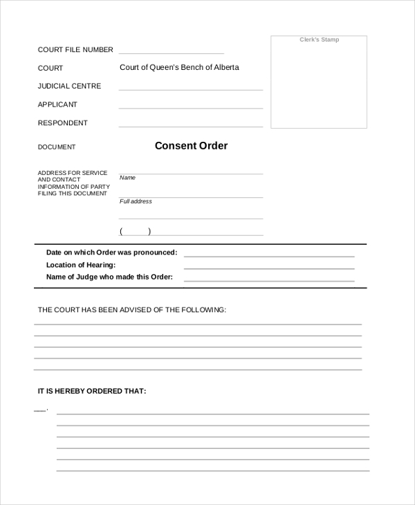 consent order form