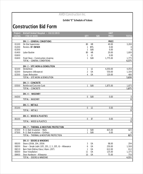 Contractors Bid Sheet  Construction Proposal Form