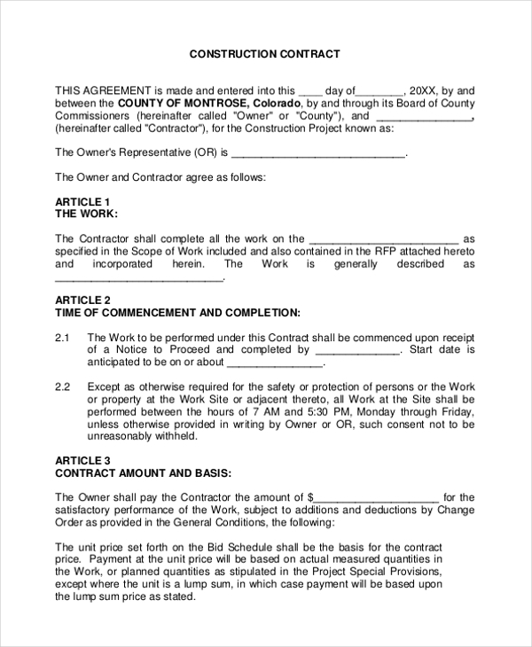 Sample Construction Agreement Forms 10 Free Documents