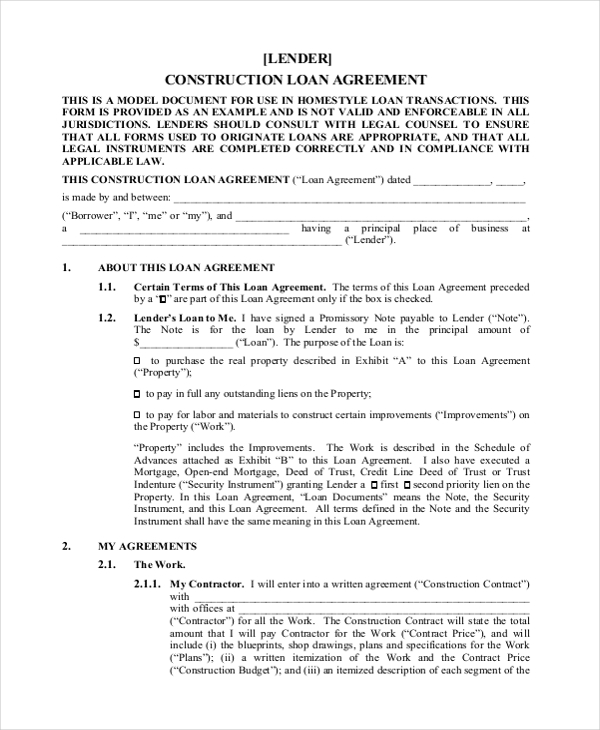 Nice Construction Loan Agreement Form