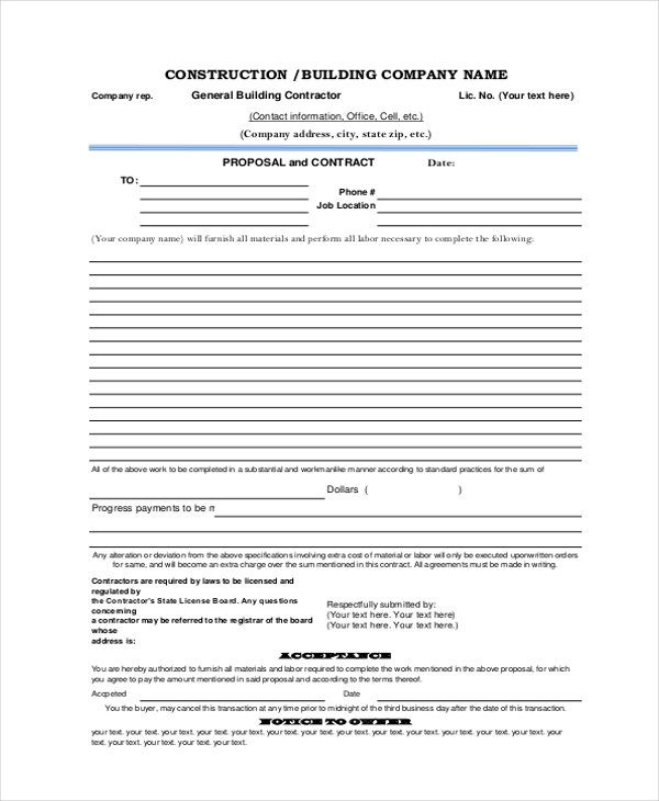 Sample Construction Form 21 free Documents in Word PDF Excel – Construction Proposal Form