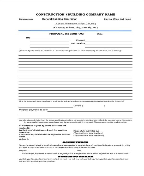 Sample Proposal Forms 19 Free Documents in Word PDF – Construction Proposal Form