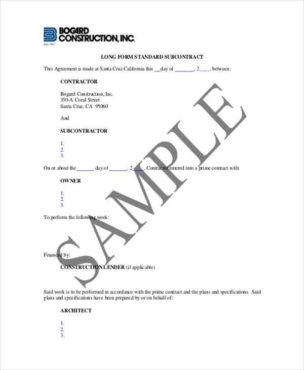 construction subcontract agreement form