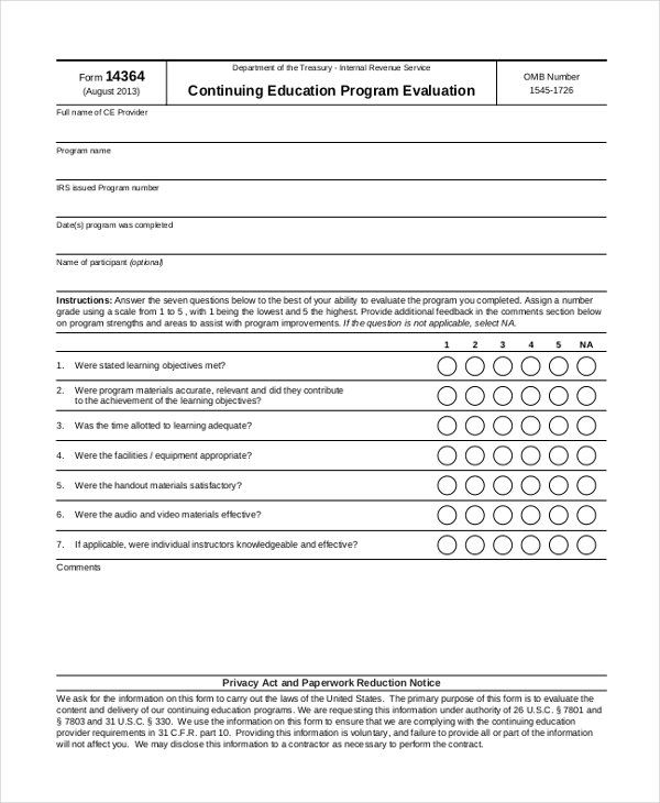 Program Evaluation. Program Evaluation Form Sample Download Sample