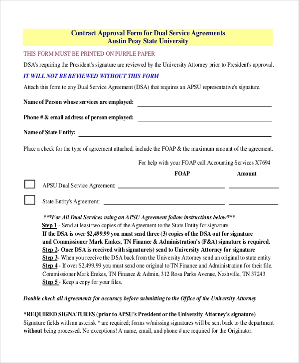 contract approval form for dual service agreements