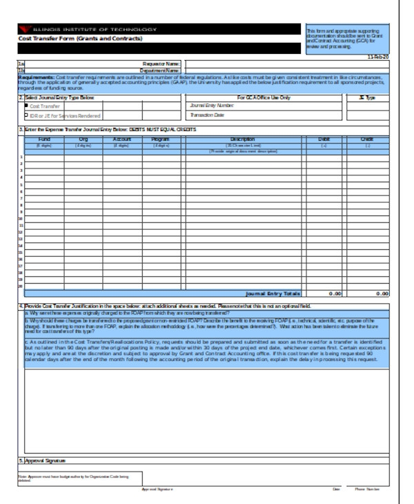 cost transfer form