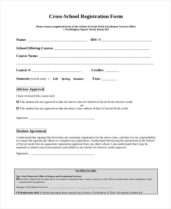 cross school registration form