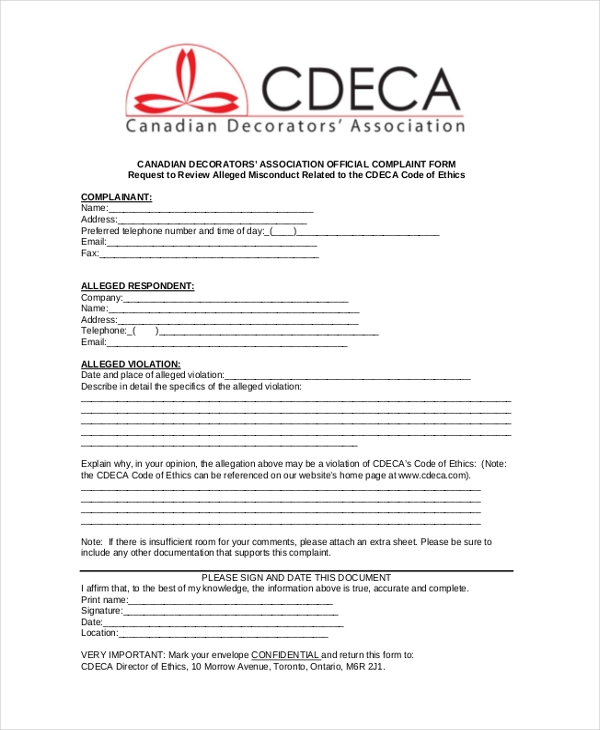 decorators' association official complaint form