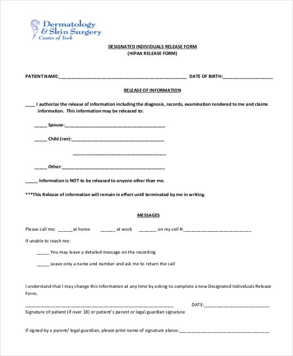 designated hippa release form