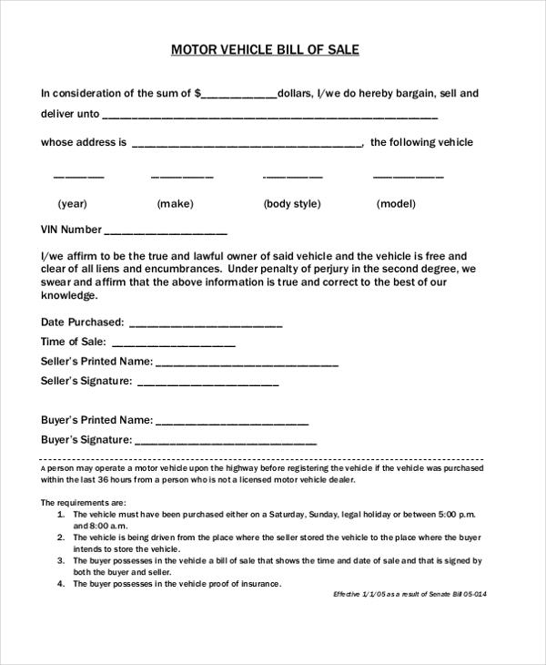 dmv bill of sale form