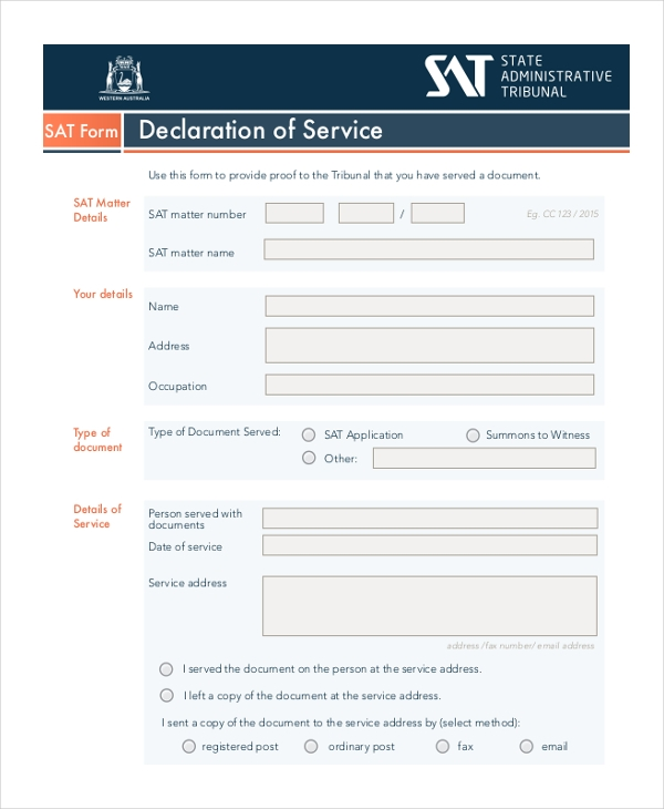 declaration of service form