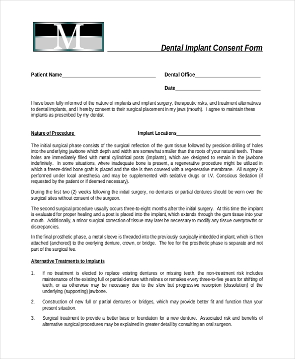 Sample Dental Consent Forms   Free Documents In Pdf