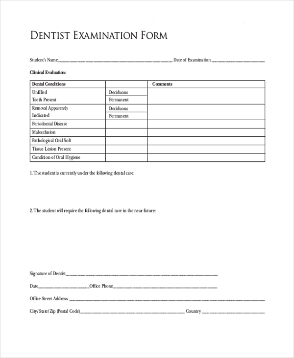 dentist examination form