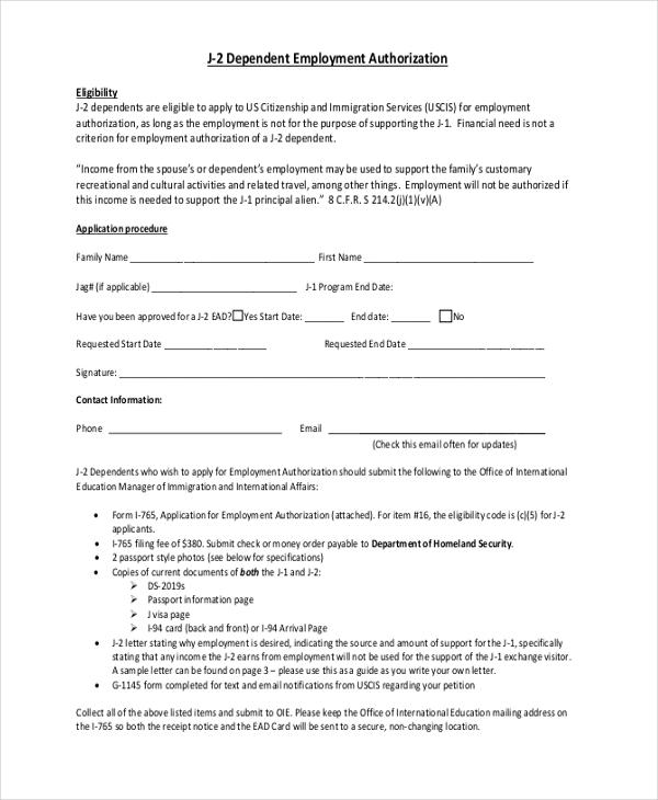 dependent employment authorization
