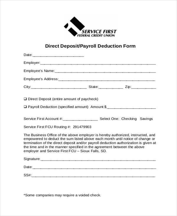direct deposit payroll deduction form