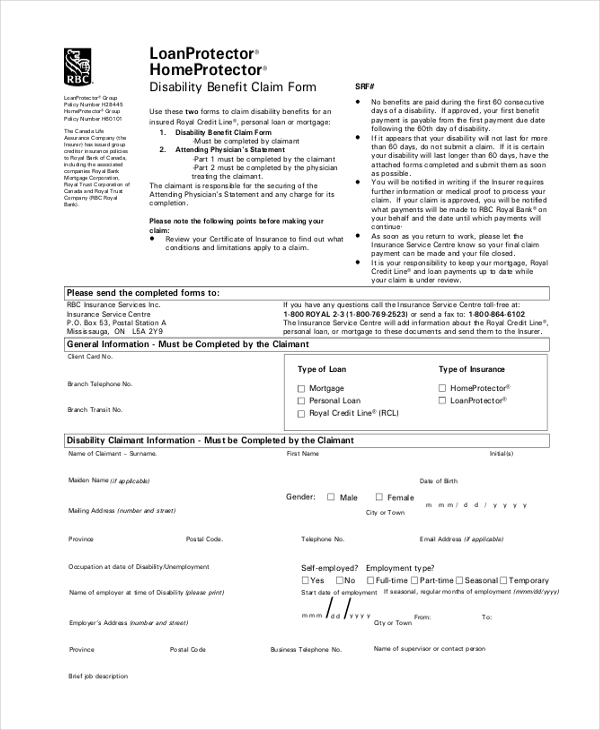 disability benefit claim form