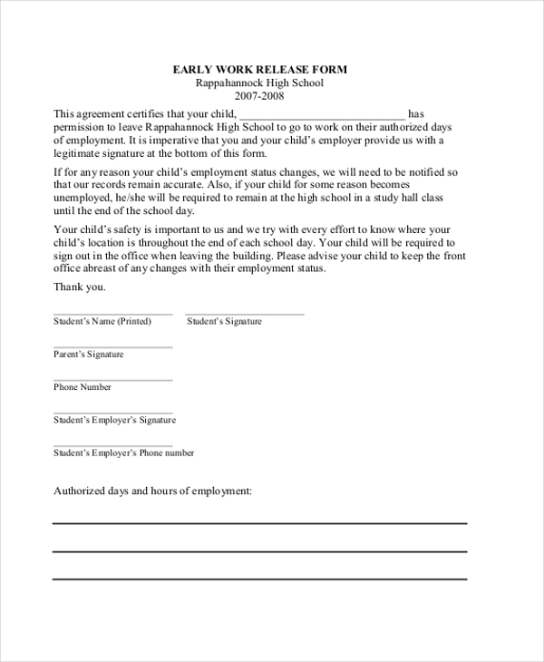 early work release form