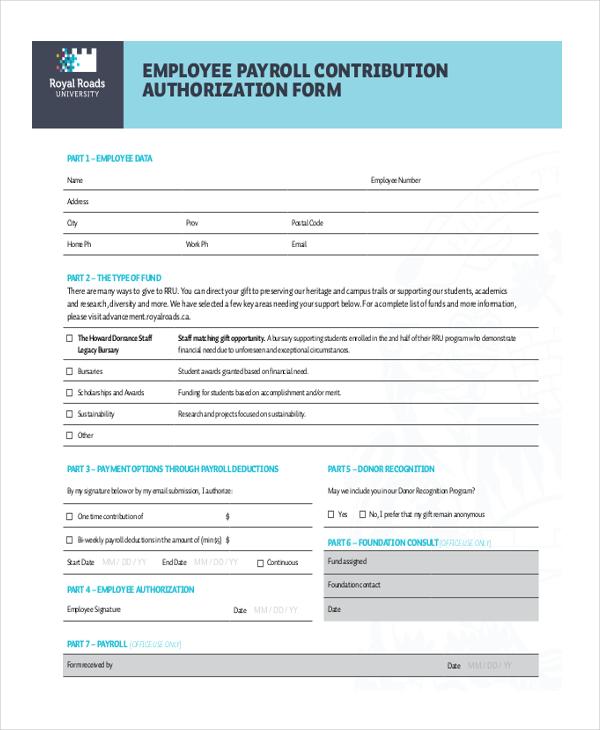 employee payroll contribution authorization form