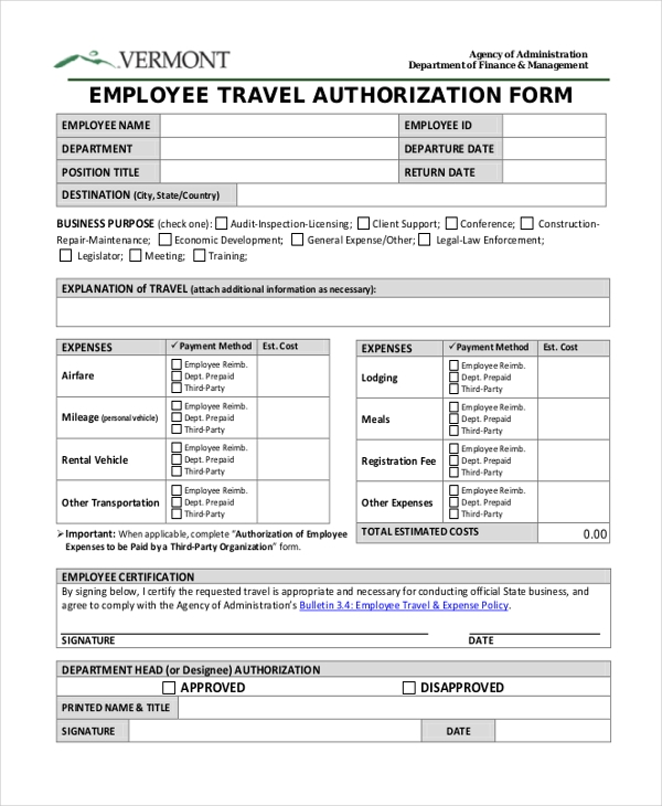 Travel Authorization Form   Free Documents In Pdf