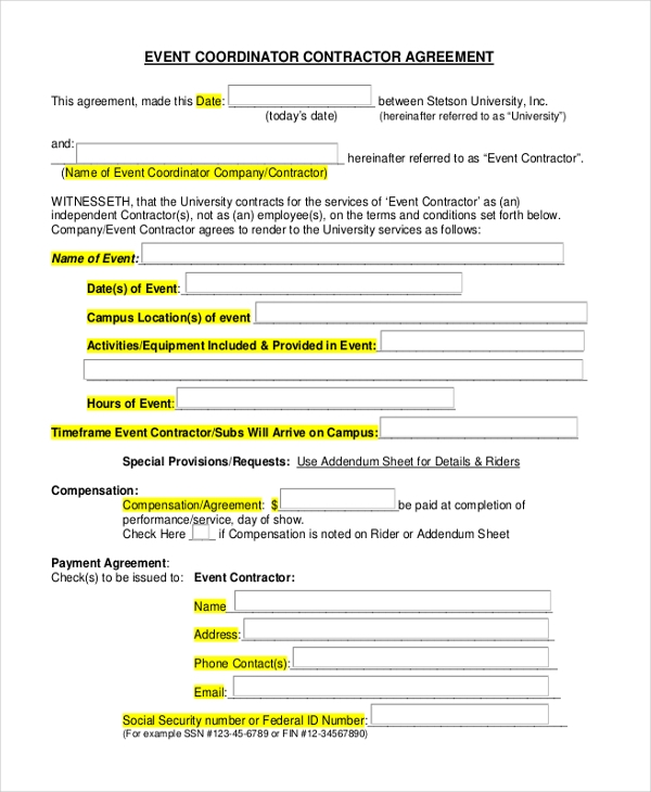 Event Coordinator Contractor Agreement  Event Planner Contract Example