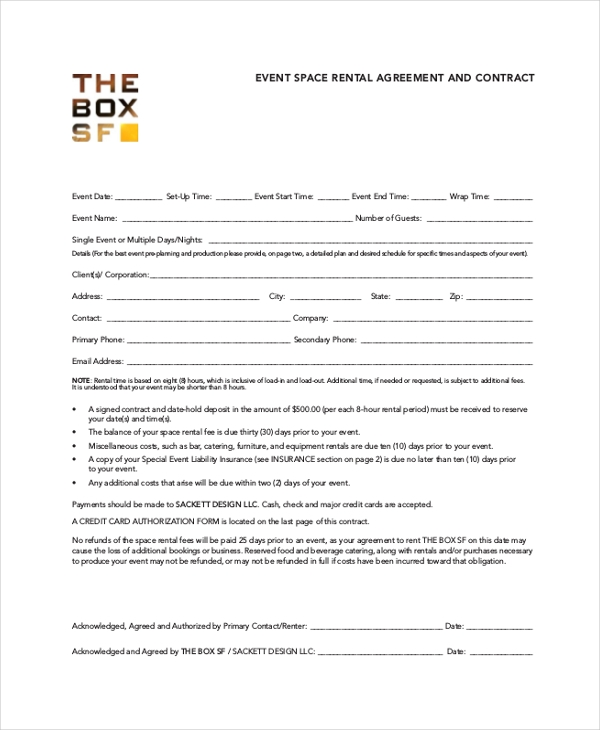 event rental agreement and contract