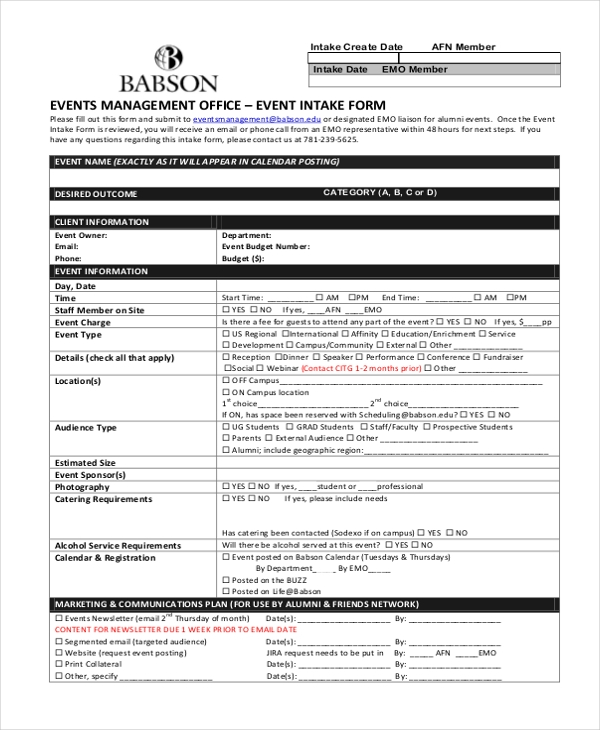 events management intake form