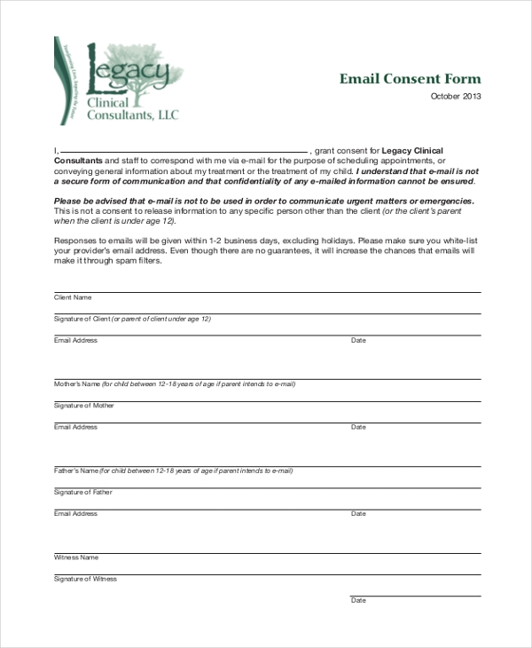 Sample Consent Form 26 Free Documents In Word Pdf
