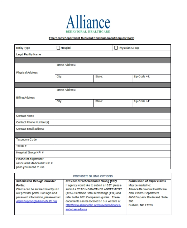 Sample Medicaid Reimbursement Form   Free Documents In Word Pdf