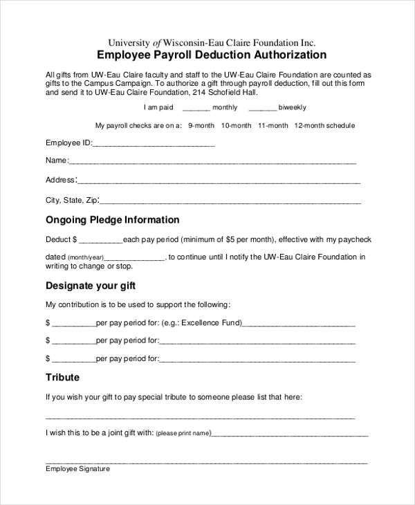 Sample Payrolle Deduction Form   Free Documents In Pdf