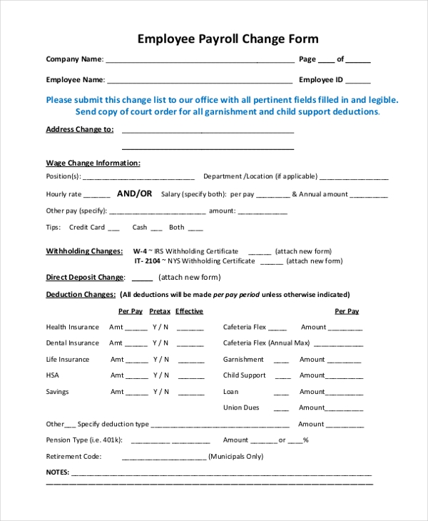 Blank Payroll Form  Direct Deposit Form Template  Target