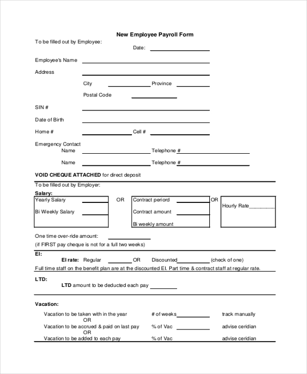 employee payroll form