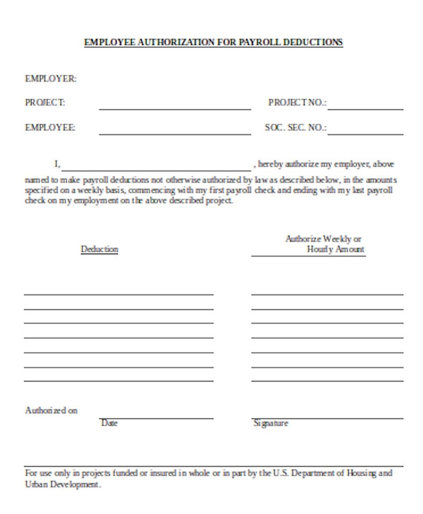 employee payrolle deduction form