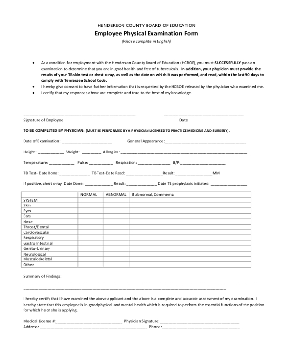 Sample Physical Examination Form 11 Free Documents in Word PDF – Physical Exam Form