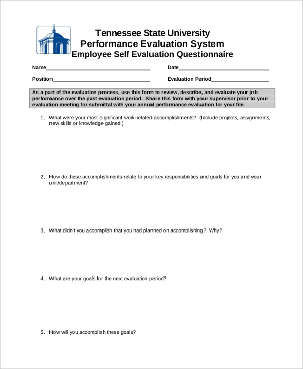 employee self evaluation questionnaire form