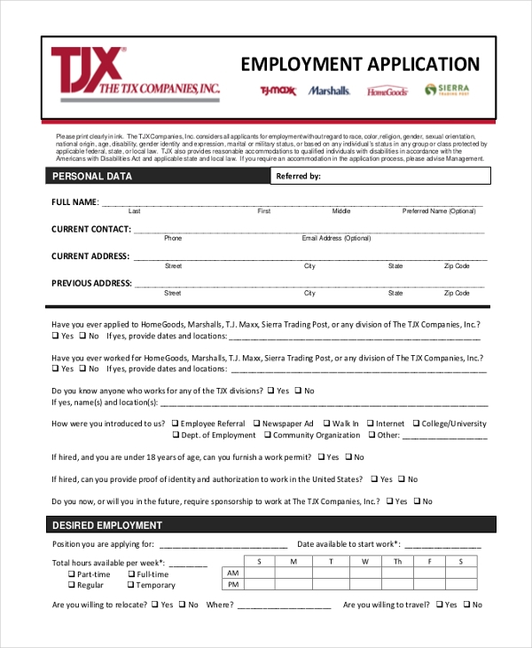 employmee application form