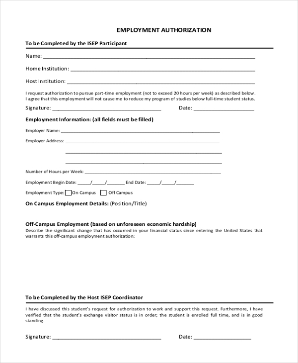 Sample Employment Form 26 Free Documents in Word PDF – Sample Employment Authorization Form