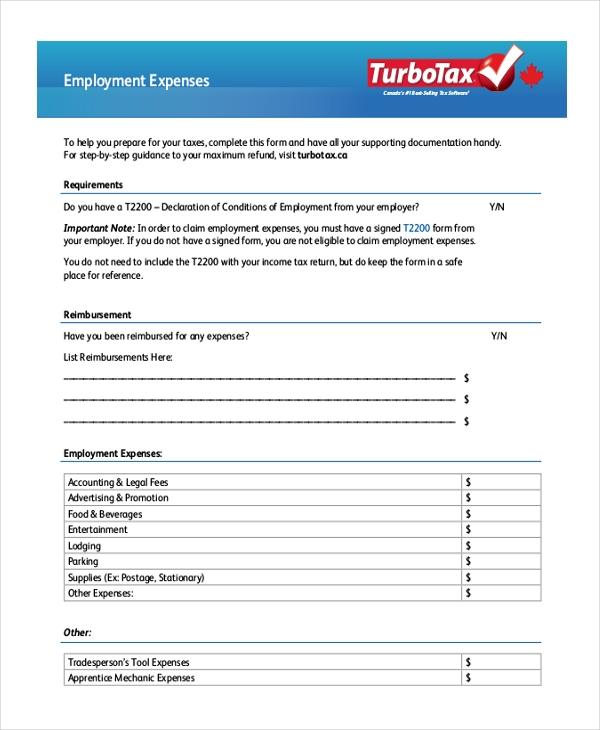 employment expenses form