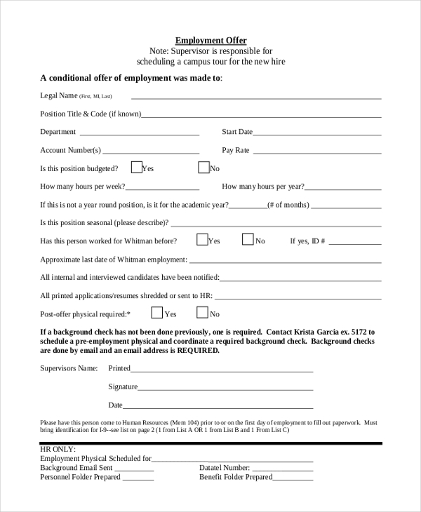 employment offer form