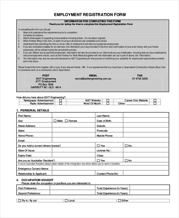 employment registration form