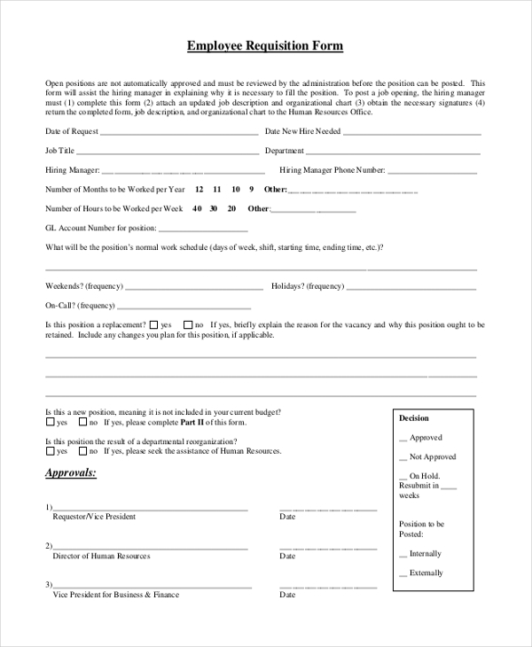 employment requisition form