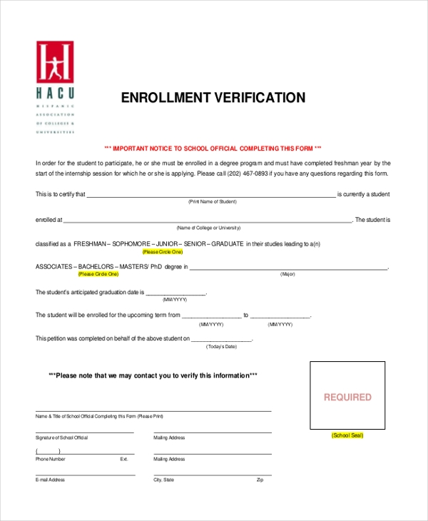 enrollment verification form