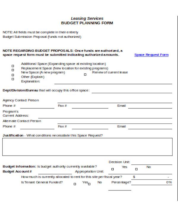 event budget planning form